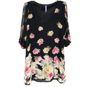 Lulu's Dresses - LuLu's Black Floral Cold Shoulder Dress - XS